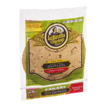 La Tortilla Factory High Fiber Extra Virgin Olive Oil Softwraps Tomato Basil - 6 CT