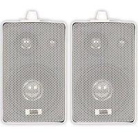 Acoustic Audio 251W 400 Watt Pair White 3-Way Indoor/Outdoor Speakers - 37 Hz to 20 kHz - 8 Ohm