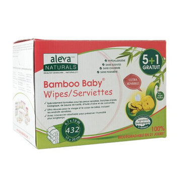 Aleva Naturals Bamboo Baby SENSITIVE Wipes Sensitive (5+1), 432 ea