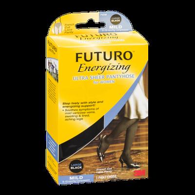 Futuro Energizing Ultra Sheer Pantyhose for Women Mild Large/Black