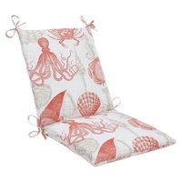 Pillow Perfect Outdoor Square Edge Chair Cushion - Orange/Tan Sealife