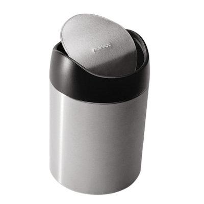 simplehuman Countertop Trash Can, Fingerprint-Proof, Stainless Steel, 1.5 Liter, 1 ea