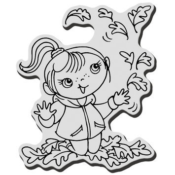 Stampendous Inc Stampendous Halloween Cling Rubber Stamp Leaf Girl Kiddo
