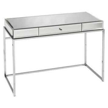Writing Desk: Southern Enterprises Modern Glass Mirrored Desk