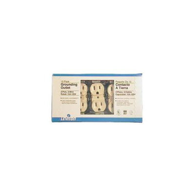 Leviton M25-05320-IMP 10 Pack Ivory Residential Grade Straight Blade Duplex Receptacle