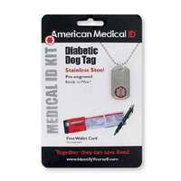 American Medical ID Diabetes Pre-Engraved Dog Tag Necklace