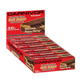 MuscleMeds CARNIVOR Soft Baked Protein Bar Chocolate Peanut Butter 12 Bars