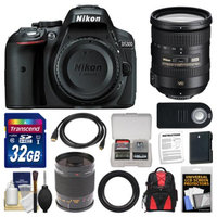 Nikon D5300 Digital SLR Camera Body (Black) with 18-200mm VR II Zoom & 500mm Mirror Lens + 32GB Card + Backpack + Battery Kit