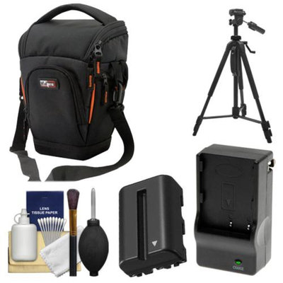 Vidpro TL-35 Top-Load DSLR Camera Holster Case (Large) with NP-FM500H Battery & Charger + Tripod + Cleaning Kit for Sony Alpha DSLR SLT-A57, A65, A77, A99