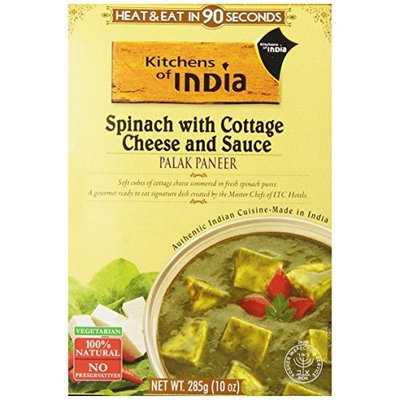 Kitchens of India Ready to Eat Dish, Spinach with Cottage Cheese and Sauce (Palak Paneer), 10 Ounce (Pack of 6)