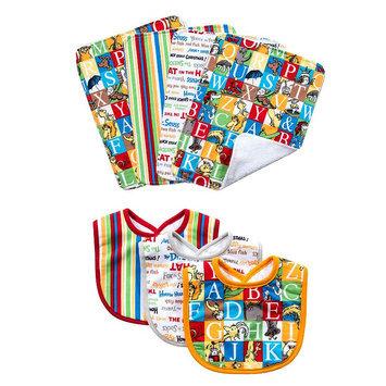 Trend Lab 7-Pack Dr. Seuss Alphabet Bib and Burp Cloth Set