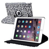 Insten iPad Air 2 Case, by INSTEN White/Black Leopard Degree Rotating Smart PU Leather Swivel Stand Case For Apple iPad Air 2