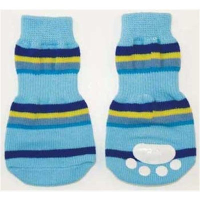 Ethical Pet Fashion Pet Lookin Good Striped Slipper Socks for Dogs, Medium, Blue