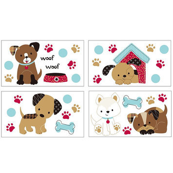 Belle Puppy Play Wall Decals (Brown)
