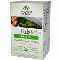Organic India Tulsi Tea Green Tea 18 Tea Bags Case of 6