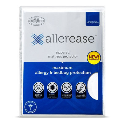Allerease Maximum Bedbug & Allergy Protection Mattress Protector (White)