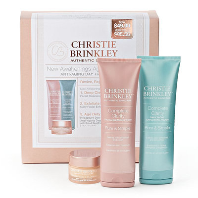 Christie Brinkley Authentic Skincare New Awakenings Anti-Aging Day Treatment Discovery Gift Set (Copper/Cream)