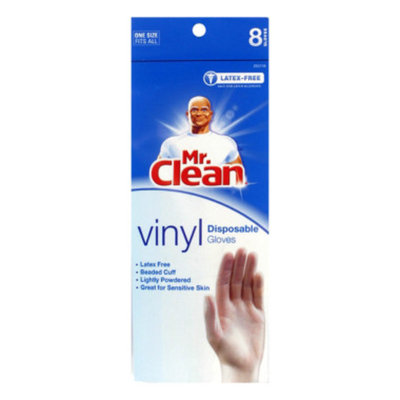 DOLLAR GENERAL Mr. Clean Vinyl Disposable Gloves, 8 pairs