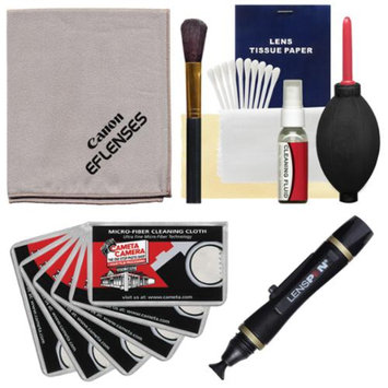 Canon Optical Digital Camera & Lens Cleaning Kit (Brush, Microfiber Cloth, Fluid & Tissue) with Lenspen + Hurricane Blower + 6 Cleaning Cloths