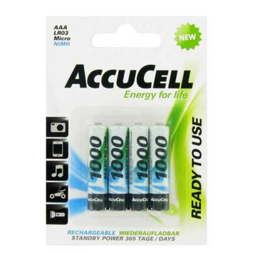Accu Cell AccuCell ACN1000-4 Rechargebale AAA NiMH Low Self Discharge 1000mAh (4-pack)