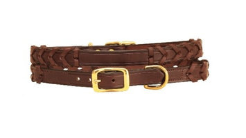 Tory Leather Laced Leather Dog Collar With Name Plate Space