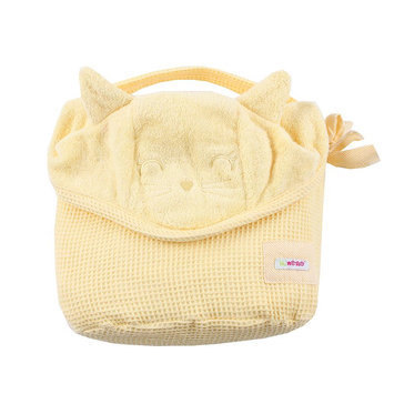 Minene Toddler Nation Cat Hooded Towel in Yellow