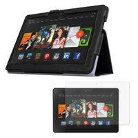 Black Double-Fold Folio Case with Screen Protector for Kindle Fire HDX 8.9'