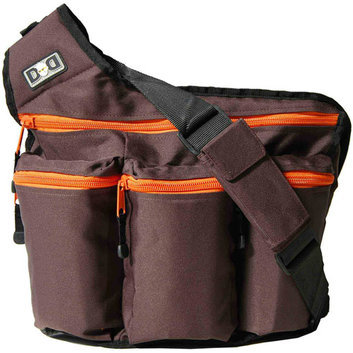 Diaper Dude Brown Diaper Bag with Orange Zippers