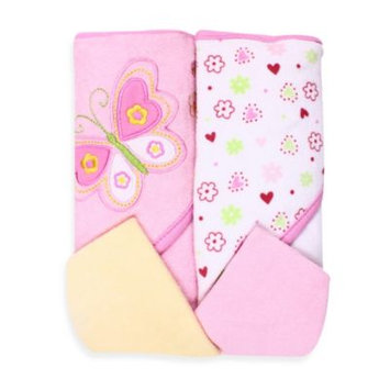 Spasilk Two Hooded Towels & Washcloth Set - Butterfly