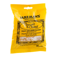 Jakemans Throat & Chest Menthol Lozenges Honey and Lemon - 30 CT