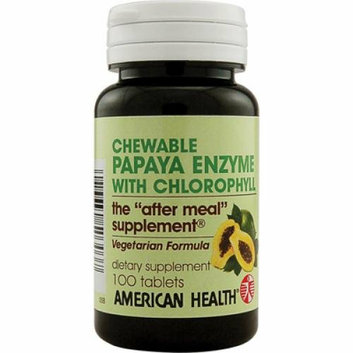 American Health Papaya Enzyme with Chlorophyll Chewable 100 Chewable Tablets