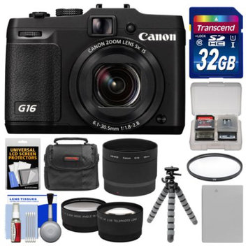 Canon PowerShot G16 Wi-Fi Digital Camera (Black) with 32GB Card + Case + Battery + Flex Tripod + Filter + Tele/Wide Lens Kit