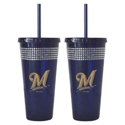 Boelter Brands MLB Brewers Set of 2 Bling Straw Tumbler - 22oz