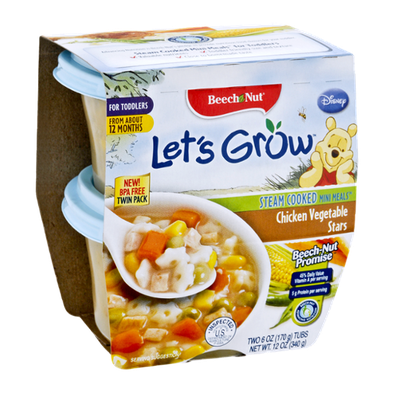 Beech Nut Let's Grow Chicken Vegetable Stars Steam Cooked Mini Meals for Toddlers - 2CT