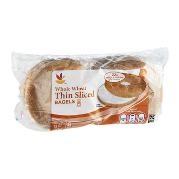 Ahold Thin Sliced Whole Wheat Bagels - 8 CT
