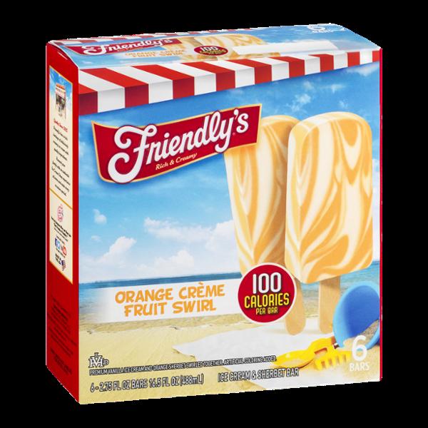 Friendly's Ice Cream & Sherbet Bar Orange Creme Fruit Swirl - 6 CT