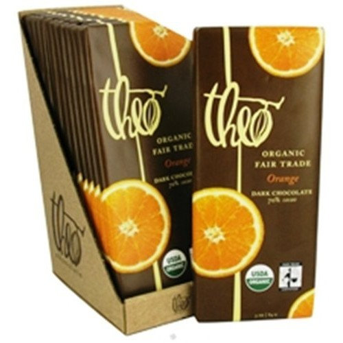 Theo Chocolate Theo Classic Organic Dark Chocolate (70% Cacao) with Orange, 3-Ounce Bars (Pack of 12)
