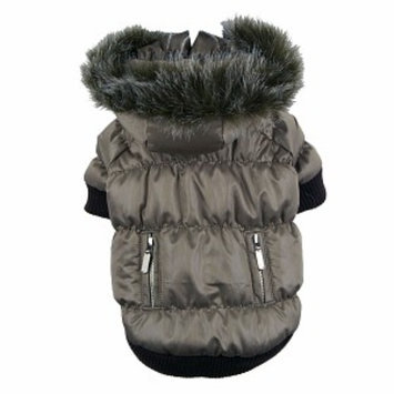 Pet Life Metallic Ski Parka, Large, Metallic Grey, 1 ea