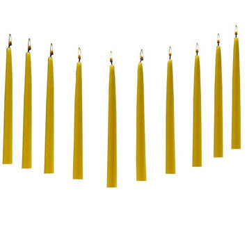 Light In The Dark Candles 10 in. Tall Burn 7 Hours Yellow Citronella Taper Candles (Set of 10) LITD-T-YCT-10