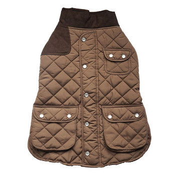 Royal Animals Quilted Dog Coat with Pocket, Size: S (Brown)