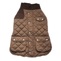 Royal Animals Quilted Dog Coat with Pocket, Size: M (Brown)
