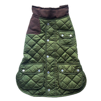 Royal Animals Quilted Dog Coat with Pocket, Size: L (Green)