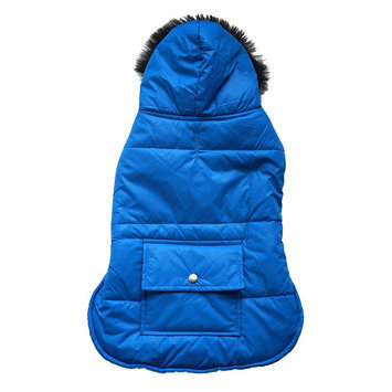 Royal Animals Hooded Puffer Dog Coat with Pocket, Size: S (Blue)