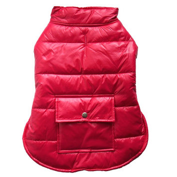 Royal Animals Hooded Puffer Dog Coat with Pocket, Size: M (Pink)