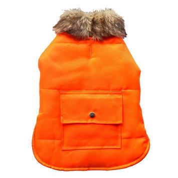 Royal Animals Puffer Dog Coat with Pocket, Size: M (Orange)