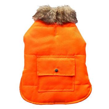 Royal Animals Puffer Dog Coat with Pocket, Size: S (Orange)