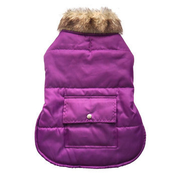 Royal Animals Puffer Dog Coat with Pocket, Size: S (Purple)