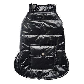 Royal Animals Shiny Puffer Dog Coat with Pocket, Size: XS (Black)
