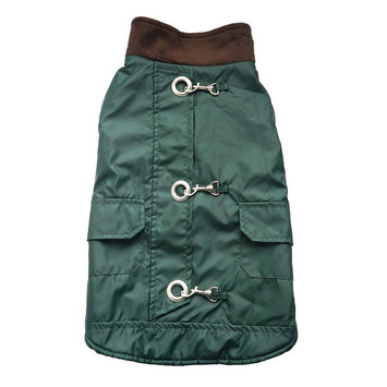 Royal Animals Faux-Leather Dog Coat with Pockets, Size: M (Green)