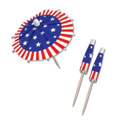 Amscan 409731 Jumbo Umbrella Picks 6 in. 24-Pkg-Patriotic